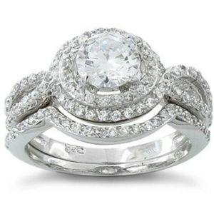 Simulated Diamond Halo Wedding Rings size 7